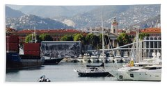 Beach Towel featuring the photograph Nice Harbour Life by Rasma Bertz