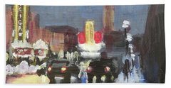 Night Around Michigan Theater Beach Towel by Yoshiko Mishina