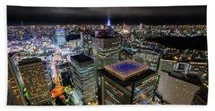Night At Tokyo Metropolitan Government Building Beach Towel