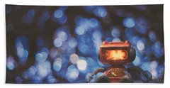 Night Falls On The Lonely Robot Beach Towel
