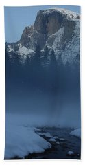 Night Falls Upon Half Dome At Yosemite National Park Beach Towel