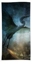Night Flight Of The Great Egret Beach Sheet by Maria Urso