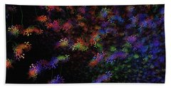 Beach Towel featuring the painting Night Flowers by Greg Moores