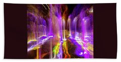 Night Fountain  Beach Towel