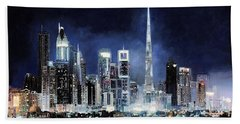 night in Dubai City Beach Towel
