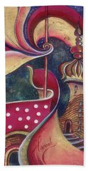 Beach Towel featuring the painting Night In The City Of Gods by Anna Ewa Miarczynska