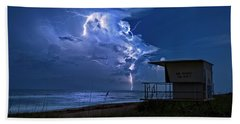 Night Lightning Under Full Moon Over Hobe Sound Beach, Florida Beach Sheet by Justin Kelefas