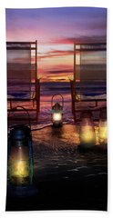 Beach Sheet featuring the photograph Night Lights At Sunset by Debra and Dave Vanderlaan
