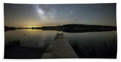 Beach Towel featuring the photograph Night On The Dock by Aaron J Groen