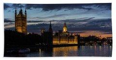 Night Parliament And Big Ben Beach Towel