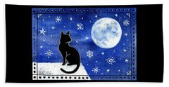 Night Patrol At Wintertime Beach Towel