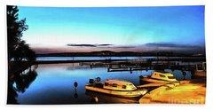 Night Port Painting Beach Sheet