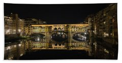 Night Reflections Of The Ponte Vecchio Beach Sheet