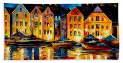Night Resting Original Oil Painting  Beach Towel