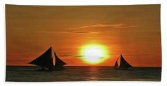 Night Sail Beach Towel