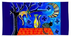 Beach Towel featuring the painting Night Shift - Cat Art By Dora Hathazi Mendes by Dora Hathazi Mendes