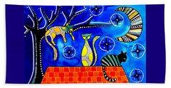 Night Shift - Cat Art By Dora Hathazi Mendes Beach Sheet by Dora Hathazi Mendes