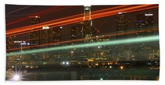 Night Shot Of Downtown Los Angeles Skyline From 6th St. Bridge Beach Sheet