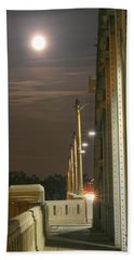 Night Shot Of The Los Angeles 6th Street Bridge And Supermoon #3 Beach Towel