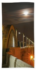 Night Shot Of The Los Angeles 6th Street Bridge And Supermoon #4 Beach Sheet