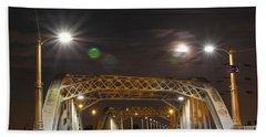 Night Shot Of The Los Angeles 6th Street Bridge And Supermoon #5 Beach Towel