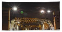 Night Shot Of The Los Angeles 6th Street Bridge And Supermoon #5 Beach Sheet