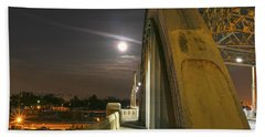 Night Shot Of The Los Angeles 6th Street Bridge And Supermoon #6 Beach Sheet