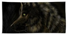 Night Silent Wolf Beach Towel