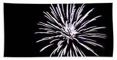 Beach Towel featuring the photograph Night Sky Fireworks by Suzanne Luft