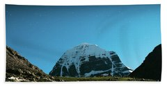 Night Sky Holy Kailas Himalayas Tibet Yantra.lv Beach Towel