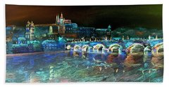 Beach Towel featuring the mixed media Night Sky Over Prague by Elizabeth Lock
