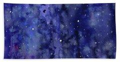Night Sky Watercolor Galaxy Stars Beach Towel
