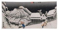 Night Snow Beach Towel by Hiroshige