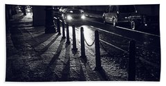 Beach Towel featuring the photograph Night Street Of Prague by Jenny Rainbow