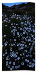 Night Time Flowers Beach Sheet