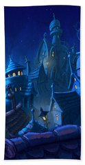 Night Town Beach Towel