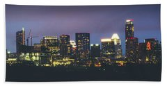 Night View Of Downtown Skyline In Winter Beach Towel