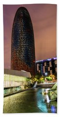 Night View Of Torre Agbar Beach Towel