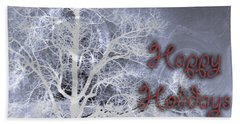 Night Vision I Happy Holidays Card 3 Beach Sheet