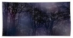 Nightfall In The Woods Beach Sheet by Sandy Moulder