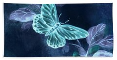 Beach Towel featuring the digital art Nightglow Butterfly by Writermore Arts