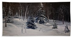 Night Time Snowy Woods Beach Towel