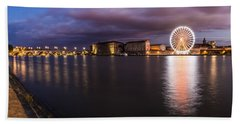 Nightly Panorama Of The Garonne River And Pont Neuf Beach Sheet by Semmick Photo