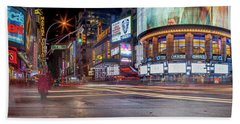 Nights On Broadway Beach Sheet by Az Jackson