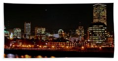Nighttime In Pdx Beach Towel