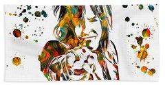 Nikki Sixx Paint Splatter Beach Towel