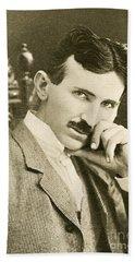 Nikola Tesla, Serbian-american Inventor Beach Towel