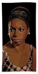Nina Simone Painting 2 Beach Towel by Paul Meijering