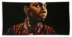 Nina Simone Painting Beach Sheet by Paul Meijering