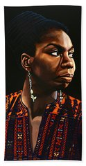 Nina Simone Painting Beach Towel by Paul Meijering